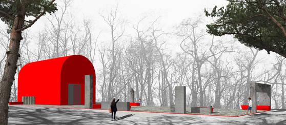 중앙정보부 6국이 있던 자리에 내년 8월 들어설 메모리얼 광장(215㎡·약65평)의 조감도. 이곳엔 빨간 우체통이 컨셉트인 '메모리얼 홀'이 들어서고, 6개의 기둥과 6개의 벤치가 설치된다.[사진 서울시]