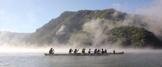 춘천 의암호 주변 경치와 물안개를 감상하기 위해 이른아침부터 카누 체험에 나선 관광객들. [사진 춘천 물레길]