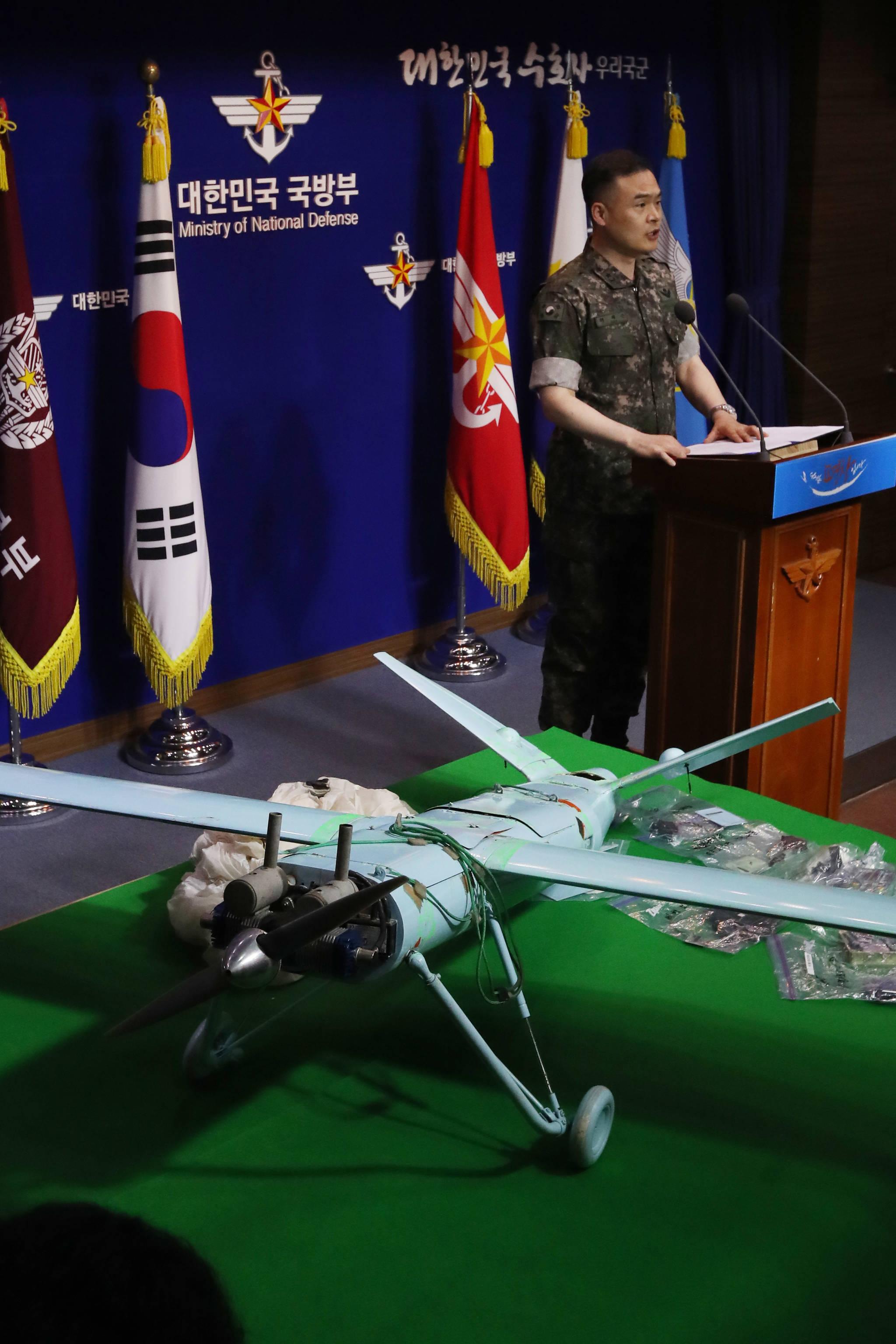 전동진 합동참모본부 작전1처장이 21일 서울 국방부 브리핑룸에서 대북 경고 성명을 발표하고 있다. 김경록 기자