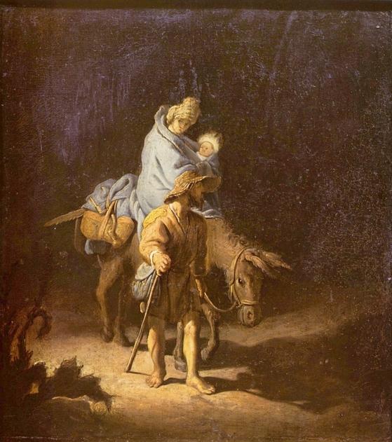 렘브란트 작 '이집트로의 피신'. 요셉은 마리아와 아기 예수를 데리고 고향 나자렛을 떠났다.