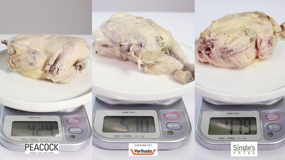 닭만 따로 무게를 재봤다. 왼쪽부터 피코크·요리하다·싱글즈프라이드로, 요리하다가 510g으로 가장무거웠다. [이자은 인턴기자]