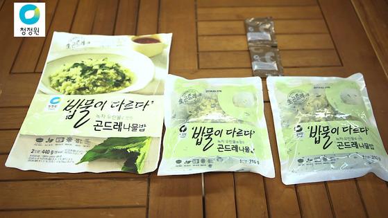 청정원 '밥물이다르다 녹차 곤드레나물밥'. 곤드레나물밥과 비빔간장이들어있다. 가격은 5280원.송현호 인턴기자
