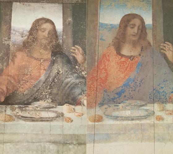 오츠카미술관에 있는 '최후의 만찬' 중 예수의 모습. 왼쪽이 복원 전이고 오른쪽이 복원후다.