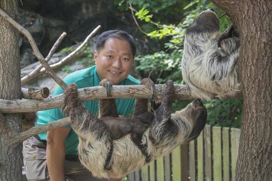 김진목 사육사와 나무늘보 가족 [사진 에버랜드]