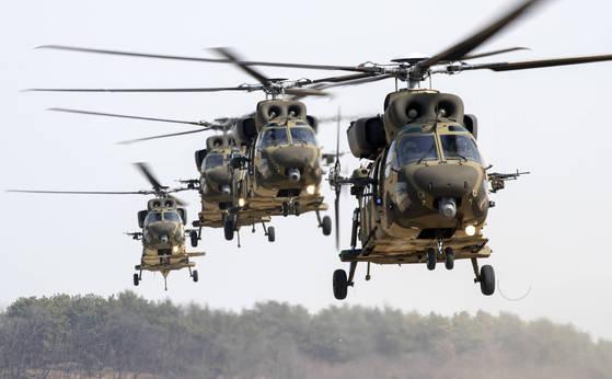 한국형 기동헬기 수리온은 육군의 낡은 헬기 전력을 대체하기 위해 개발됐다. 육군이 60여 대를 운용 중이다. 그러나 이 헬기는 결빙 방지 성능에 문제가드러났다.[연합뉴스 자료사진]
