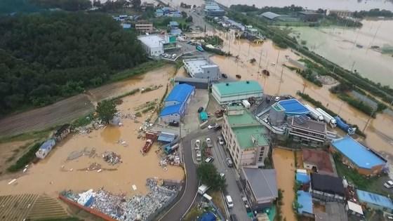 22년 만에 최악의 폭우가 내린 16일 충북 청주시 구 강내면과 미호천 일대가 물에 잠겨 있다. [연합뉴스]