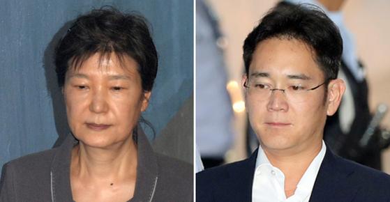 박근혜 전 대통령(왼쪽)과 이재용 삼성전자 부회장. [중앙포토]