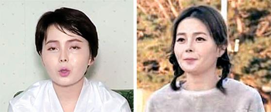 북한 선전매체에 탈북 방송인 임지현씨가 전혜성이라는 이름으로 등장했다(왼쪽 사진). 오른쪽 사진은 임씨가 TV 조선의 방송 프로그램인 '남남북녀'에 등장했던 모습. [우리민족끼리, TV 조선 방송화면 캡처]
