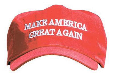 트럼프 미국 대통령이 쓰고 있던 '미국을 다시 위대하게 만들자(MAKE AMERICA GREAT AGAIN)'는 문구가 새겨진 모자. [베드민스터 AP=연합뉴스]