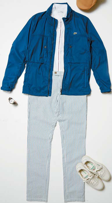 라코스테의 블루 점퍼, 에스티 듀퐁의 화이트 셔츠, 타미힐피거의 줄무늬 바지, 리복의 아이보리 운동화, 캉골의 베이지 베레모.