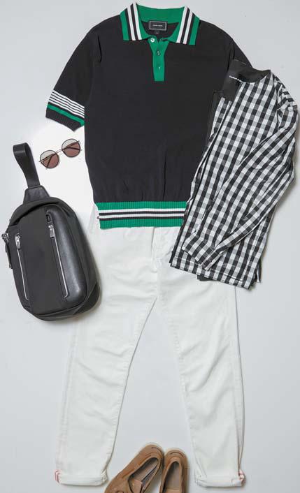 반하트 디 알바자의 체크 점퍼, 타미힐피거의 블랙 칼라 셔츠, 브로이어의 화이트 바지, 락포트의 브라운 신발, 투미의 원 숄더 가방.