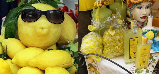 아말피 노점에서 파는 레몬. 레몬으로 만든 사탕과 레몬술 리몬첼로는 기념품으로 적당하다.