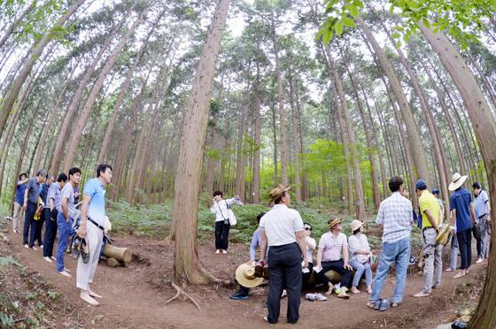 전남 장성 편백치유의 숲에서 산림아카데미 최고경영자 과정 교육생들이 맨발로 산림치유지도사(가운데)의 설명을 듣고 있다. [프리랜서 김성태]