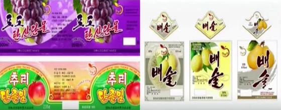 조선산업미술창작사의 3창작단이 제작한 상품 포장 도안. [사진 조선중앙TV 캡처]