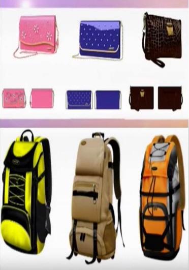 조선산업미술 창작사의 1창작단이 제작한 여성용 등산 가방 도안. [사진 조선중앙TV 캡처]