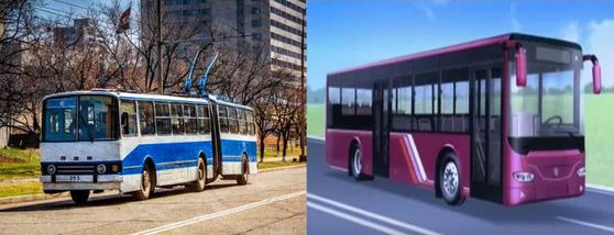 실제 평양의 시내 버스모습(사진 왼쪽)과이번에 새롭게 선보인 북한 시내버스 디자인 도안. [사진 Flickr/Baron Reznik, 조선중앙TV 캡처]