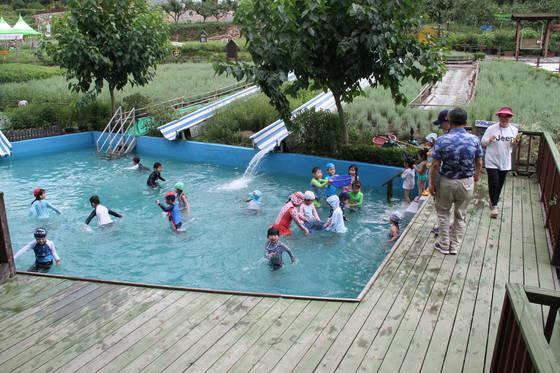 지난 21일 밀양꽃새미마을에 설치된 풀장에서 부산의 한 어린이집 아이들이 물놀이를 하고 있다. 위성욱 기자