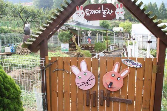 밀양꽃새미마을 참샘허브나라에 있는 토끼체험장. 위성욱 기자