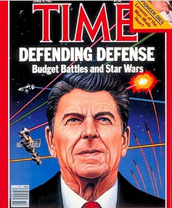 1983년 3월 레이건 미 대통령이 '스타워스'구상을 발표하자 주간지 '타임'은 레이건을 4월 4일자 표지 모델로 쓰며 비용 논란을 기사화했다. [중앙포토]