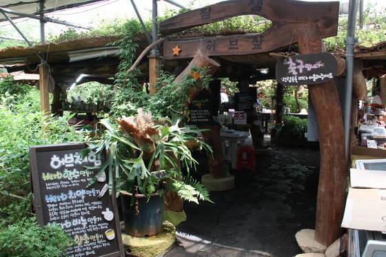밀양꽃새미마을 참샘허브나라 체험장. 이곳에서 허브 비누와 향초 만들기, 허브차 체험 등이 이뤄진다.
