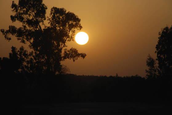 인도의 평원에 떨어지는 해는 무척 아름답다. 아소다라도 저런 노을 아래서 남편을 기다리지 않았을까.