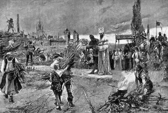밧줄에 묶인 후스가 화형장에 나와 있다. 왼쪽 뒤의 사람들은 화형을 집행하기 위해 나무를 쌓고 있다.