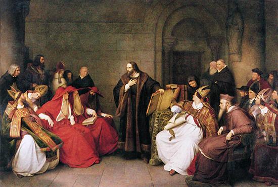 콘스탄스 공의회에서 얀 후스가 황제와 가톨릭 교회의 대표자들 앞에서 자신의 입장을 항변하고 있다.