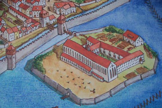 공의회가 열렸던 건물에서 도보로 불과 5분 거리에 있는 수도원 건물. 후스는 이곳의 감옥에 갇혔다. 정면 오른쪽 귀퉁이의 조그만 뾰족탑이 후스가 갇혔던 감옥이다.