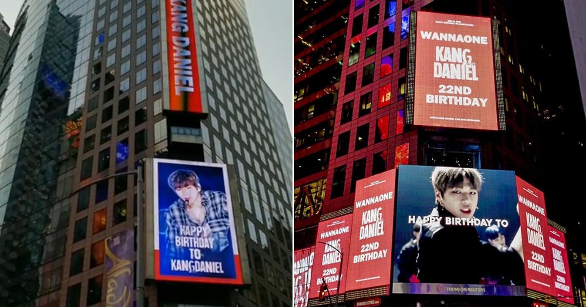 Image result for 강다니엘 생일 축하 광고가 미국 뉴욕 타임스스퀘어