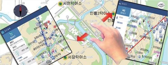북한의 스마트폰 길안내 앱 '길동무'는 평양 주요 시설의 위치와 각종 정보를 제공하고 있다.