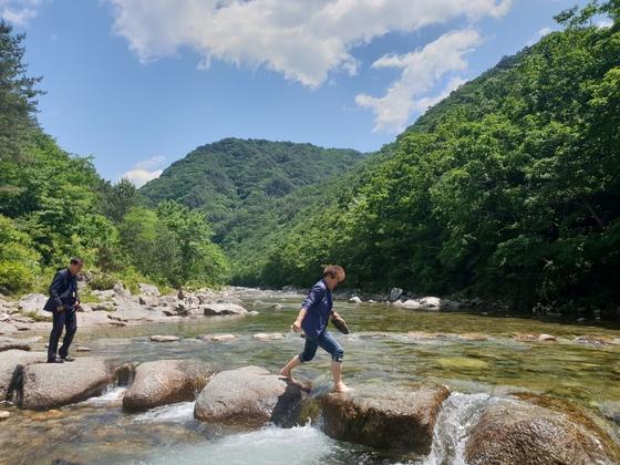 두타연을 찾은 관광객들이 징검다리를 건너고 있다. 박진호 기자