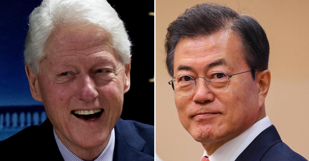 빌 클린턴 전 미국 대통령(왼쪽 사진)이 문재인 대통령의 중재 능력에 찬사를 보냈다. [중앙포토, AP=연합뉴스]