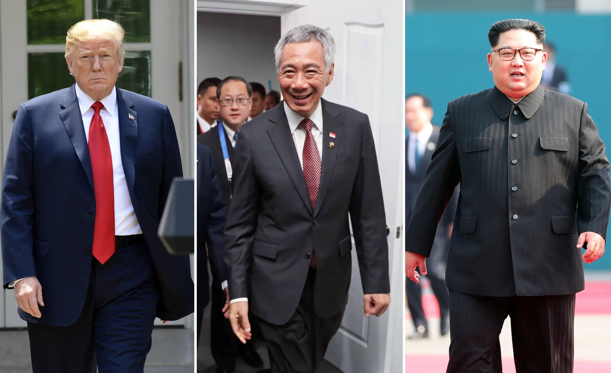 왼쪽부터 도널드 트럼프 미국 대통령, 리셴룽(李顯龍) 싱가포르 총리, 김정은 북한 국무위원장. 리 총리는 10일 김 위원장을 만났다. 11일에는 트럼프 대통령을 면담할 예정이다. [AP, 연합뉴스]