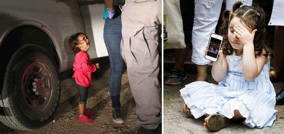 엄마와 함께 뗏목을 타고 리오그란데 강을 건너 미국-멕시코 국경지대에 있는 텍사스 주 매캘런에 도착한 두 살짜리 온두라스 여자 아이가 12일(현지시간) 엄마가 미국 국경순찰대로부터 몸수색을 받고 구금되자 울음을 터뜨리고 있다(왼쪽 사진). 에콰도르 출신 이민자 파블로 비야비센시오의 딸 루치아나가 18일(현지시간) 미국 뉴욕 연방정부사무소 건물 앞에서 열린 '비야비센시오 석방 촉구 기자회견'에서 핸드폰 속에 있는 아빠의 사진을 보여주고 있다. [게티이미지, EPA=연합뉴스]