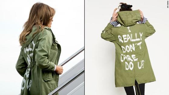 자켓을 입고 비행기에 오르는 멜라니아 여사. 오른쪽은 자라 홈페이지에 올라 있는 자켓 사진. [사진 AP=연합뉴스, 자라 홈페이지]