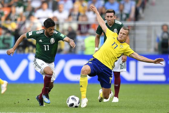한국과 F조 경쟁 멕시코-스웨덴, 최종전 전반 득점 없이 종료