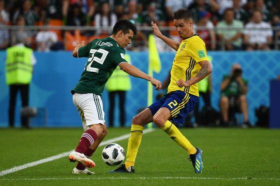 27일(현지시간) 러시아 예카테린부르크 아레나에서 열린 멕시코와 스웨덴의 2018 러시아 월드컵 조별리그 F조 3차전. [연합뉴스]