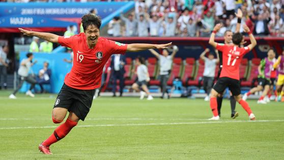 28일 열린 러시아 월드컵 F조 조별리그 3차전 독일전에서 후반 추가 시간 선제골을 넣고 환호하는 김영권. 임현동 기자