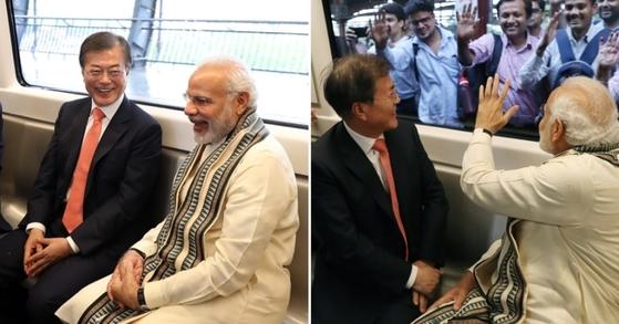 문재인 대통령은 9일 인도의 모디 총리와 함께 인도 지하철을 타고 삼성전자 공장으로 이동했다. 청와대 사진기자단