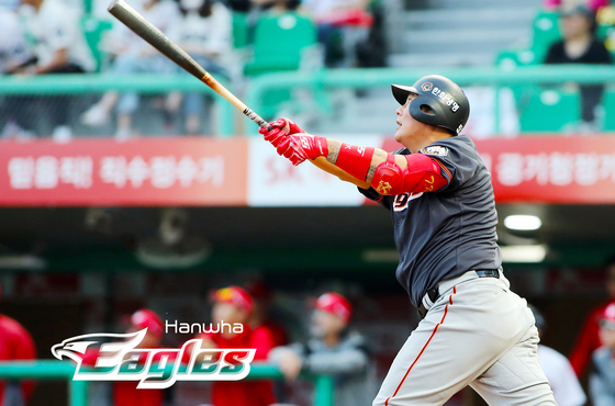 2018년 5월 26일 인천 SK전에서 300홈런을 달성한 김태균. [사진 한화 이글스]