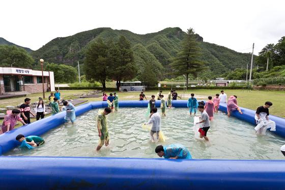 정덕 분교 운동장에서 설치된 간이 수영장에서 맨손 송어잡기 체험을 즐기는 학생들의 모습.
