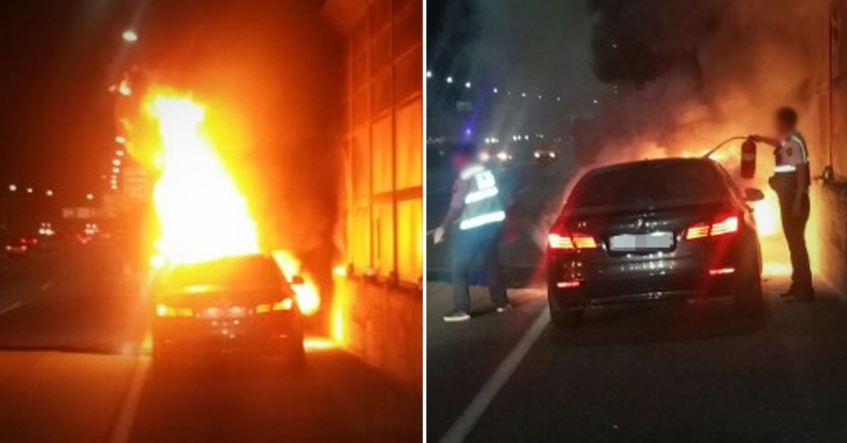 23일 0시 10분쯤 인천 남동구 서울외곽순환고속도로에서 불에 타고 있는 BMW 520d. [사진 인천경찰청 고속도로순찰대]