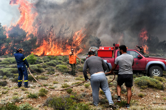 24일 아테네 남부 산악지대에서 소방관들이 산불을 진압하고 있다. [ EPA=연합뉴스]