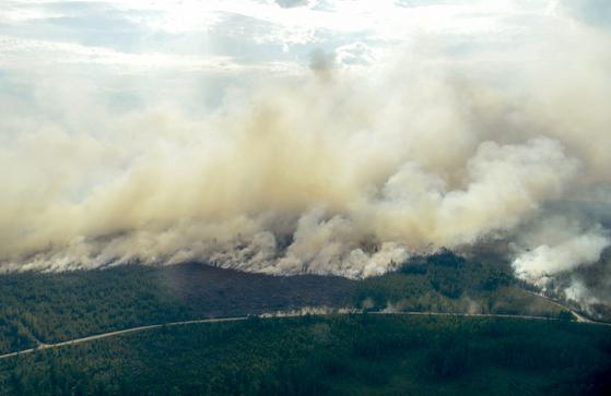 스웨덴 류스달 주변에 산불이 번지고 있다. [AP=연합뉴스]
