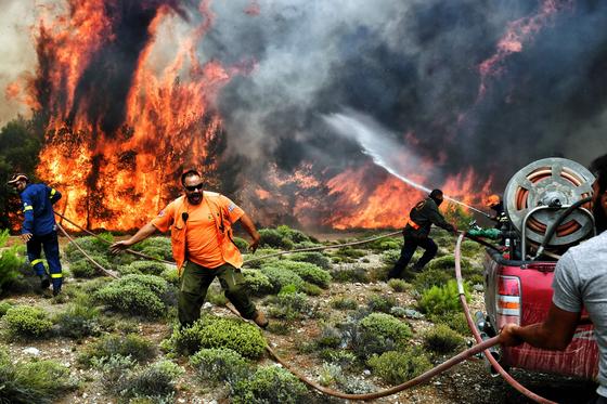 지난 24일 그리스 아테네 인근 해안도시 화재현장에서 소방대원과 자원봉사자들이 진화작업을 하고 있다. [AFP=연합뉴스]