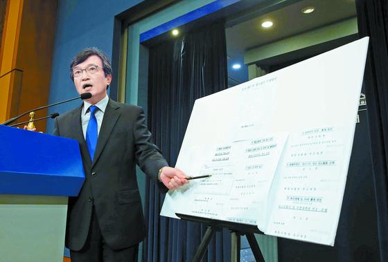 김의겸 청와대 대변인이 지난 달 20일 춘추관 브리핑룸에서 군으로부터 입수한 기무사의 계엄문건을 공개하고 있다. [김상선 기자, 청와대사진기자단]