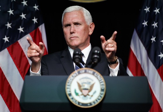Vice President Mike Pence gestures during an event on the creation of a U. S. Space Force, Thursday, Aug. 9, 2018, at the Pentagon. Pence says the time has come to establish a new United States Space Force to ensure America's dominance in space amid heightened completion and threats from China and Russia. (AP Photo/Evan Vucci) (저작권자(c) 연합뉴스, 무단 전재-재배포 금지)