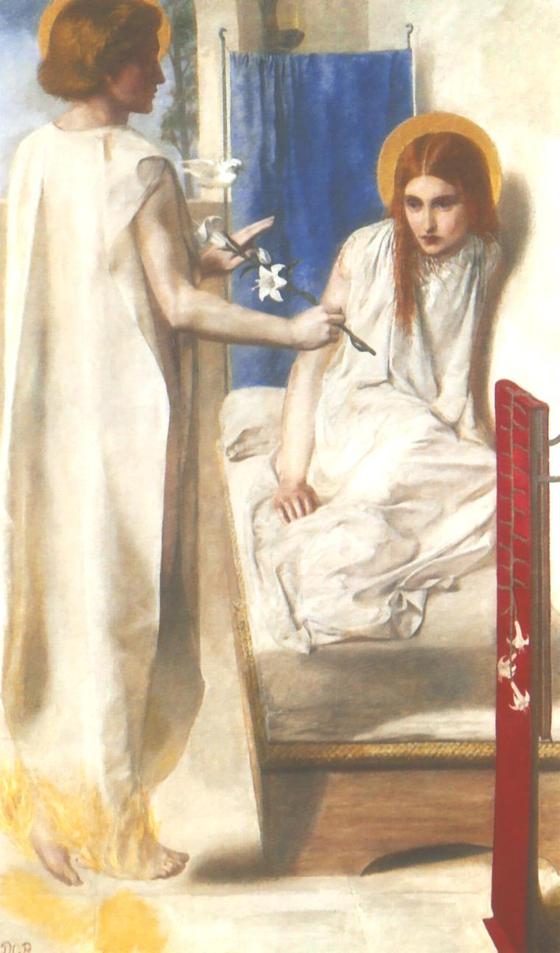 단테 가브리엘 로세티의 작품 '수태고지'. 침대 위에 앉아 있는 마리아의 얼굴이 무척 앳되다.