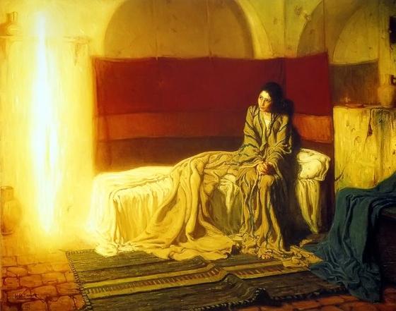 헨리 오사와 타너(1859~1937)의 작품 '수태고지'. 마리아에게 수태를 일러주는 천사가 빛으로 표현돼 있다.