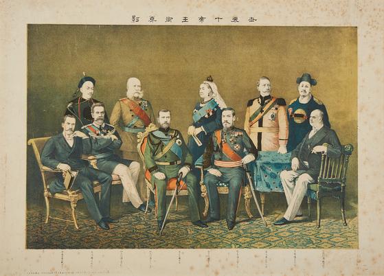 일본의 제국주의를 드러낸 '세계 십제왕 어존영' 석판화.<br><br>[사진 고판화박물관]